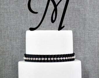 Letter M - Initial Cake Topper, Monogram Wedding Cake Topper, Custom Cake Topper