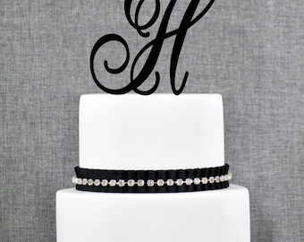 Letter H Single Monogram Cake Topper – Custom Wedding Cake Topper in Your Choice of 56 Typefaces