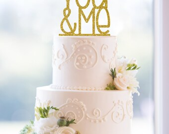 Glitter You and Me Laser Cut Acrylic Wedding Cake Topper – Customize in 31 glitter options