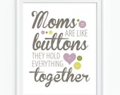 Typographic Print 'Moms Are Like Buttons' - Mother's Day - Neutrals
