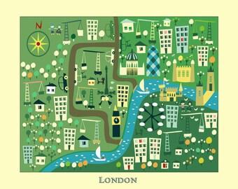 KIDS Maps, Kids LONDON Map, Childrens Maps, Kids Map of London, Map of Britain, Kids Prints, Kids Room, Kids Decor, Girls Room, Girl Decor