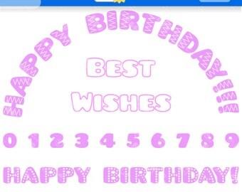 Girls Birthday Digital Clipart. Girls Birthday Clip Art for Instant Download. Pink Birthday Clipart. Girls Birthday Clipart.