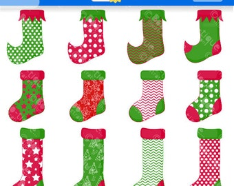 Christmas Stocking Clipart. Christmas Clip Art for Instant Download. Stockings Clip Art. Xmas Clipart. Traditional Christmas Clipart