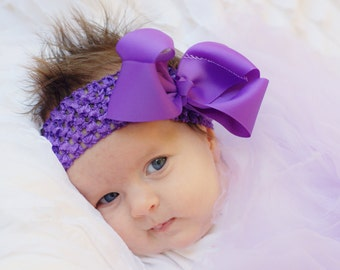 hair bow, baby bow, hairbow,large purple boutique hair bow, baby hair bow, infant hair bow,baby headband, toddler hair bow