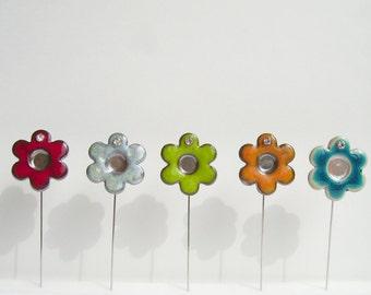 Ceramic flower pin/ Red flower brooch/ perfume flower/ spring flower gift