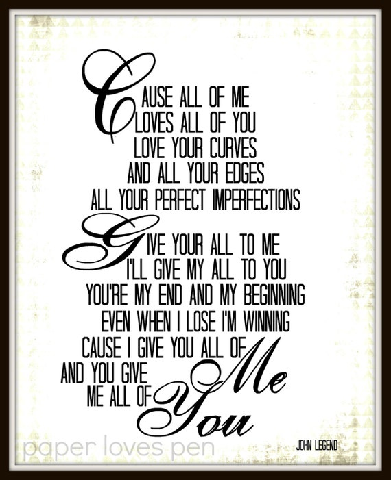 All Of Me John Legend Lyrics Quotes John legend all of me lyric