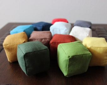 All Natural, Eco-Friendly, Soft Baby Blocks, Stuffed with Organic Natural Cotton, Gender Neutral Baby Toy, Vintage Collection