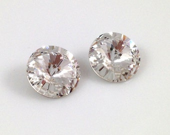 1122 CRYSTAL 12mm Swarovski Crystal Rivoli Clear 6pieces Round Pointed Foiled Back