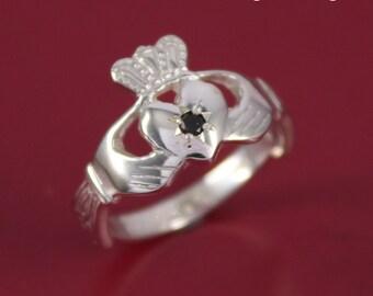 Black diamond silver claddagh ring