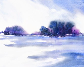 Purple Blue Watercolor Painting, Landscape Print, Blue Landscape Art, Large Purple Art, Blue Abstract Landscape Wall Decor Print, Lake Art