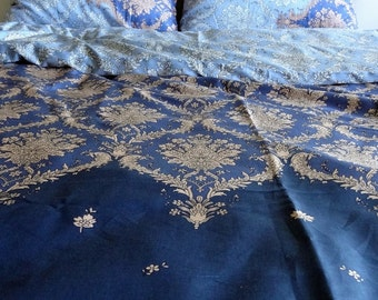 King Size Duvet Cover Set Blue Damask Pattern Cotton Satin Fabric with pillowcases, Express Shipping