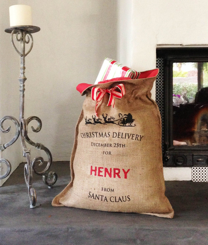 Hessian Bags Personalised Personalised Hessian Santa