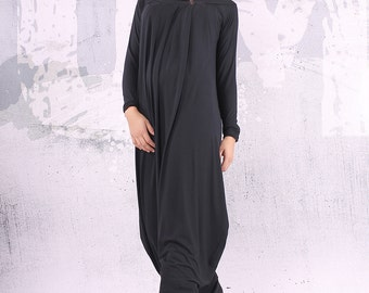 Black dress/ loose maxi dress, plus size dress, oversize dress, long dress, loose dress  - UM-CL003-VL