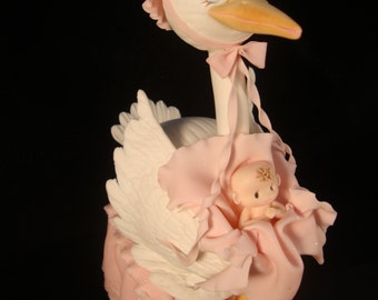 Baby Shower Cake Toppers, Baby Shower, Stork  Baby shower Centerpiece, Mommy Stork cake Topper,Gender Reveal Decoration, Yellow Stork