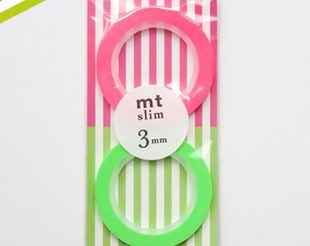 Thin 3mm Neon Washi Tapes by MT Masking Tape - Set of Two - (C)