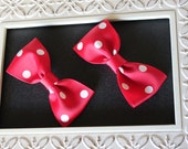 Pigtail Bow, Pigtail Bows, Minnie Mouse Bow, Minnie Mouse Party Favors,, Baby Bows, Hair Clips, Red Polkadot Bows, Minnie Mouse Costume