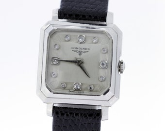 1950s 14K Gold Longines Square Shaped Bezel with Clipped Corners and Diamond Set Dial 17Jewel Movement