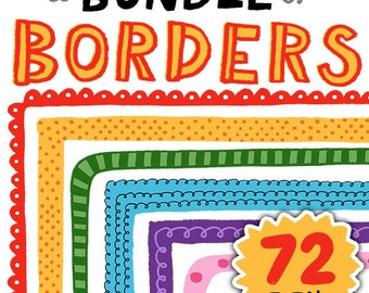 A Bundle of Borders! 72 Colorful Clipart Borders for Personal and Commercial Use
