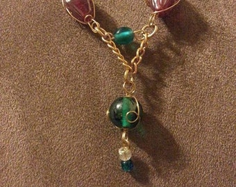 Burgundy and Teal Gold Drop Necklace