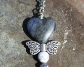Dare Greatly Sodalite and Howlite Soaring Heart Necklace