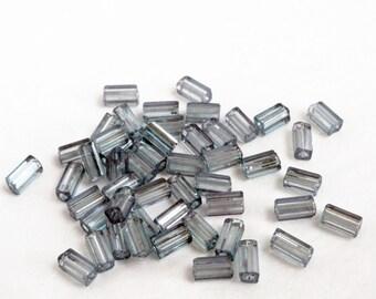 Czech glass beads - green lustre beads - green glass beads - blue glass beads - rectangular beads - 50 beads - small supplies - bead destash