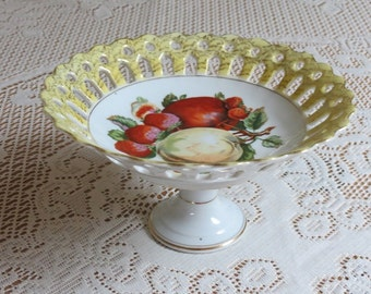 Betson Pedestal Compote Dish with Hand Painted Fruit