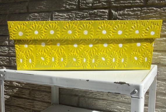 Vintage Metal Planter Box Yellow White By Makingmidcenturymod