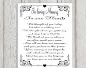In loving memory printable Memorial table Wedding memorial sign Memorial quotes Memorial poem  In our hearts Memory sign INSTANT DOWNLOAD