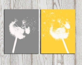 dandelion print yellow gray home bedroom decor dandelion printable poster abstract modern set of 2 wall
