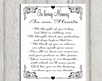 in loving memory printable memorial table wedding memorial sign memorial quotes memorial poem in our hearts