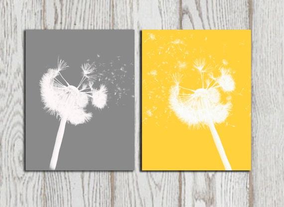 dandelion print yellow gray home bedroom decor dandelion. Black Bedroom Furniture Sets. Home Design Ideas