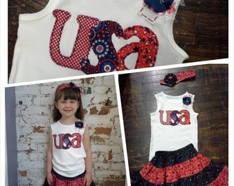 4th of July Infant Girls Skirt, Twirly Skirt, Red White Blue, 4th of July Outfit, Skirt, Girls 4-Tiered Skirt, 3-6 Months-18-24 Months