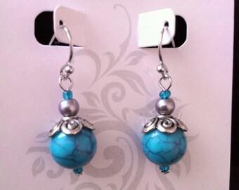 Turquoise Beauty - Beaded Dangle Earrings