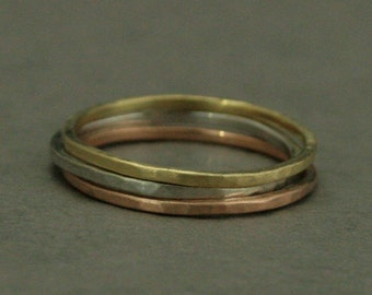 Solid 14K Gold Hammered Super Stack Ring--Set of 3 Tri Color Gold Bands--1mm Square Thin Solid Gold Bands--Hand Made with Hammered Finish