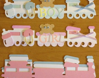 6 Cute Baby train die cuts for cards toppers cardmaking scrapbooking Exclusive to etsy