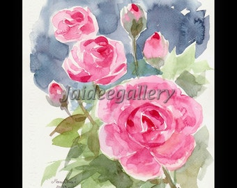 Flower art-Watercolor painting original-Painting of flower-Red rose painting on paper 8x10 in.