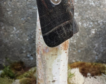 Silver Riveted Petrified Wood Pendant