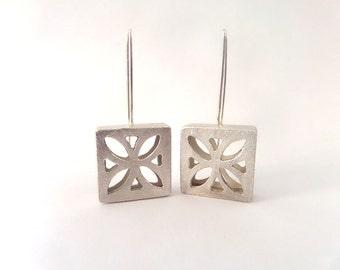 Square earrings large sterling silver earrings, Statement earrings, 3d earrings