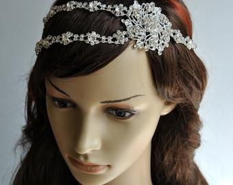 Gorgeous rhinestone headband,wedding rhinestones Headpiece headband, Bridal wedding Rhinestone crystal chain headpiece hair piece