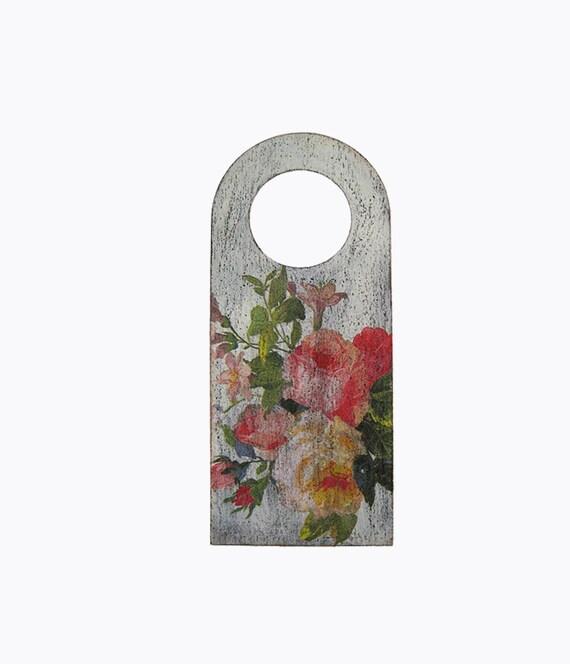 Cottage Chic Floral Decorative Hanger Wooden Door Knob Sign