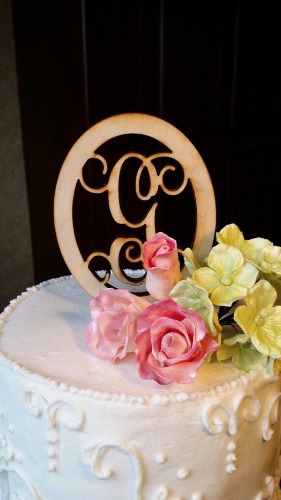 Wood Monogram Cake Toppers  Wooden Monogram Cake Topper