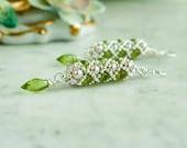 Green Peridot, Pink Freshwater pearl, Sterling Silver Statement Earrings - Hand Beaded Artisan Jewelry