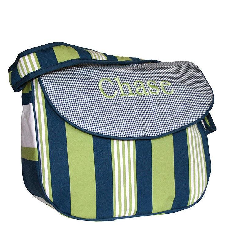 monogrammed messenger diaper bag lacrosse. Black Bedroom Furniture Sets. Home Design Ideas