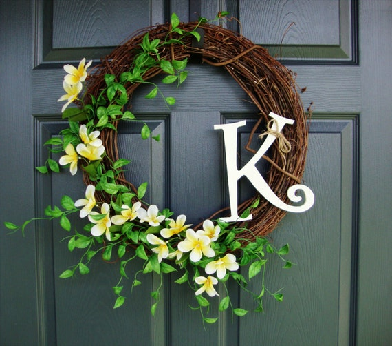 Monogram Front Door Decoration: Wildflower Wreath Door Monogram Summer Wreath Door Decor