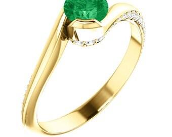 Emerald Sidewinder - 14k and Diamonds