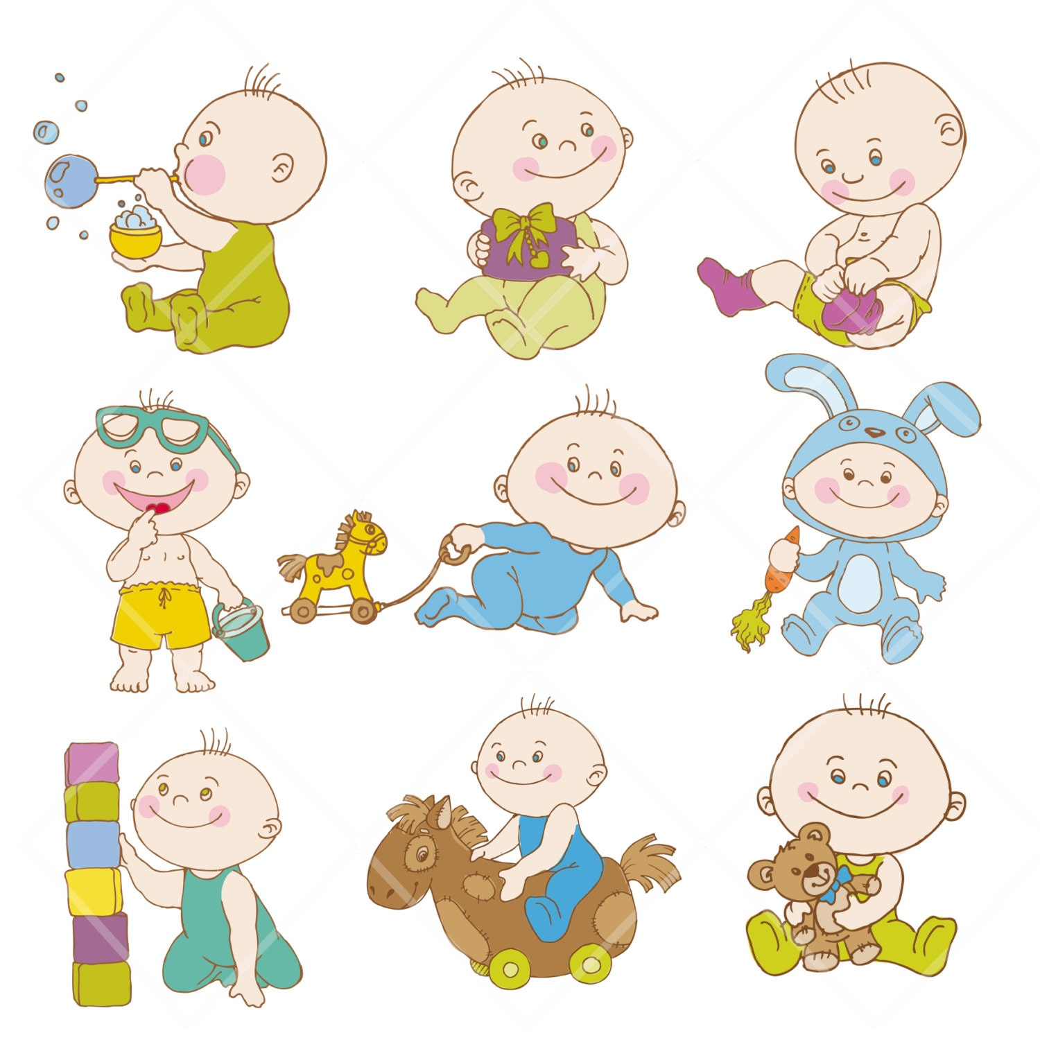 Boy Pick Up Toys Clip Art Digital clipart children