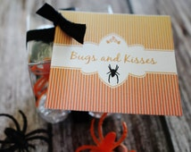 """Halloween """"Bugs and Kisses"""" Favor Tags- Bugs and Kisses Tags- Halloween Favors- Halloween Favor Tags"""