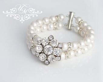 Wedding Jewelry Swarovski Pearl Bracelet Double strands snowflake Bracelet Bridal Jewelry Bridal Bracelet Bridesmaids Bracelet - NELLIE