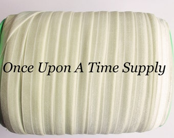 Ivory Fold Over Elastic for Baby Headbands - 5 Yards of 5/8 inch FOE - Craft Embellishement - Elastic By The Yard