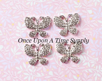 Butterfly Shaped Metal Rhinestone Buttons -  Summer Silver Setting Flat Back Rhinestones 22mm - Clear Rhinestone Craft Embellishment
